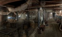 Sleeping below deck of a pirate brigantine