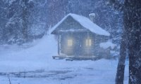 A Cozy Cabin in a Snowstorm